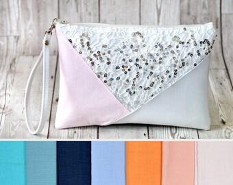 Sequin clutch bag, Customized clutch purse, Bridesmaid clutch bridesmaid gift, Envelope clutch, Vegan handbag, Vegan leather clutch custom