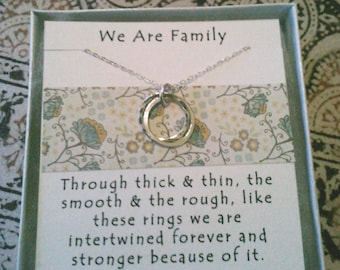 We are Family Necklaces Qty 2- Perfect gift for Mom, Sister, Aunt, Cousin, or Family Friend