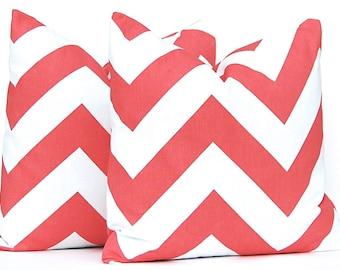 Company Twenty Six - Throw Pillow Cover - Coral and White - 20 x 20 - Chevron Cushion - Custom Bedding