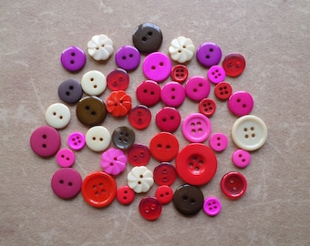 Set of 48 round Combo love pink red Fuchsia Beige Brown buttons