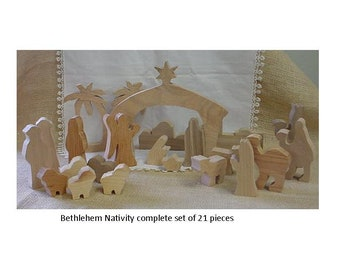 wood nativity set - Bethlehem set of 21 pieces cut from assorted woods.