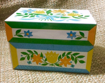Retro Recipe Box Metal With Yellow, Blue and Orange Floral Design and Recipe Cards