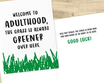 Welcome to Adulthood, Good Luck card for graduation, new homeowners, new parents; envelope included