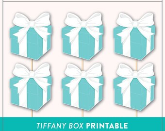 Printable Tiffany Box Cupcake Toppers Photo Booth Prop | Breakfast at Tiffany's Cupcake Toppers | Instant Download