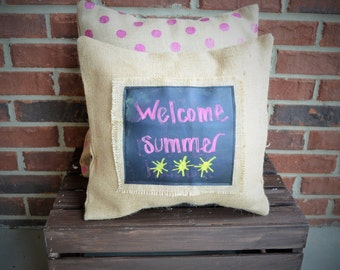 Burlap Chalkboard Pillow