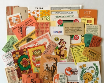 SCRAP PACK / 40  pc. Vintage Orange Scraps DIY Ephemera Kit for Altered Art, Collage, Mixed Media Scraps Orange Collage Papers