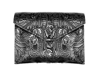 Oversized Black Clutch - Extra Large Leather Envelope Clutch - Embossed Floral Leather