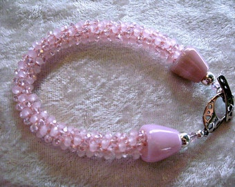 Beautiful Shades of Pink Faceted Crystals Kumihimo Braided Bracelet with Glass Artist  Lampwork End Caps Sterling Silver Toggle