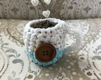 pin cushion crochet coffee cup