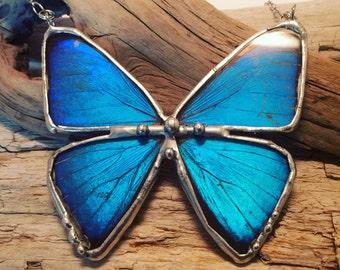 Jewelry, morpho butterfly, blue butterfly, Real Butterfly Wing Necklace, Blue butterfly Pendant,handmade butterfly pendant, butterly wing