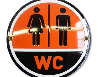 WC Toilet sign 15 cm | round enamel plaque | bathroom wall hanging lavatory restroom