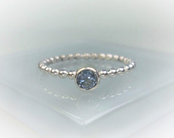 Silver or Gold Beaded Birthstone Ring, Choice of 12 Birthstones & Black CZ, 4mm Gemstone Stacking Ring, All Sizes Available