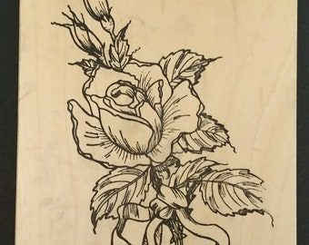 Stamp block rose boutonniere