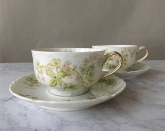 Antique Haviland Tea Cups, Schleiger 62 | Haviland Limoges Pink Apple Blossoms, limoges teacups, victorian tea party, limoges france china