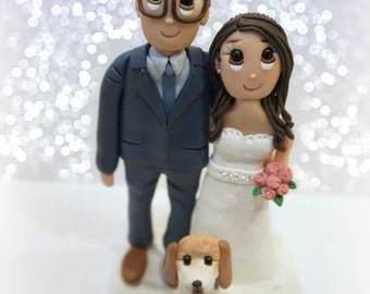 Custom Standard Wedding Cake Topper with Large Dog
