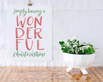 Wonderful Christmastime Watercolor Print