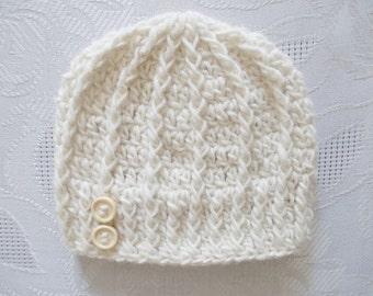 Cream baby hat Crochet newborn hat Wool baby hat Newborn boy hat Newborn boy outfit Baby boy beanie Crochet baby boy hat Winter baby hat