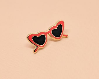 Heart-Shaped Glasses Enamel Pin | Hard Enamel, Enamel Pin, Lapel Pin, Flair, Heart Sunnies, Lolita Enamel Pin, Vintage Glasses