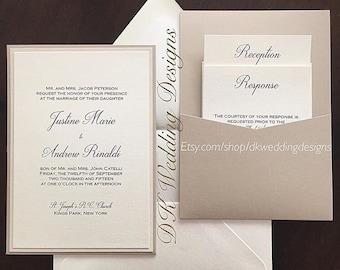 Layered Wedding Invitation, Pocket Wedding Invitation, JUSTINE