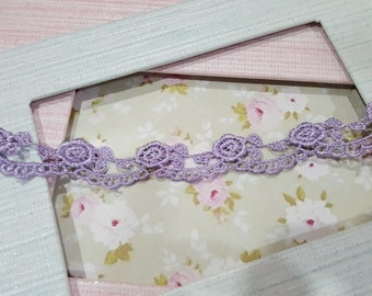 1 yard- Purple Scallop Lace Trim/NT167-Embroidered Flowering  Trim/Scallop Lace/Venice lace