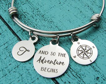 adventure jewelry, long distance friendship bracelet, travelling gift, new beginnings, graduation gift, journey bracelet compass going away