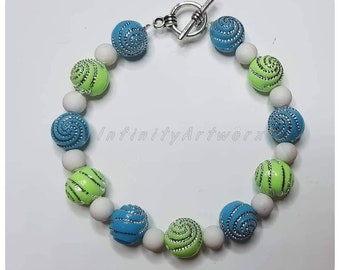 Blue and green beaded pastel bracelet