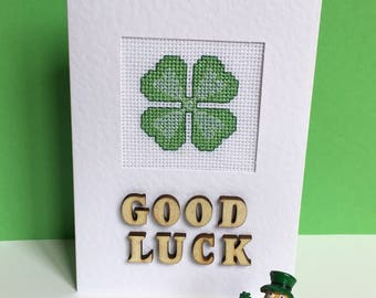 Good Luck Cross Stitch Card