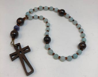 Protestant Prayer Beads - FREE gift chaplet with purchase - Anglican / Christian Prayer Beads / Rosary /Methodist / Wood cross wooden cross