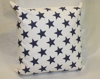 Navy Blue Stars Cushion Cover - 100% Cotton
