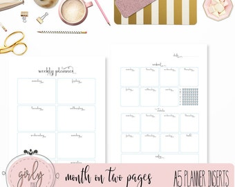 "WEEKLY PLANNER UNDATED | Planner Printable Inserts A5 | Western Calendar  | week on two pages  | ""Darling Planner Collection"""