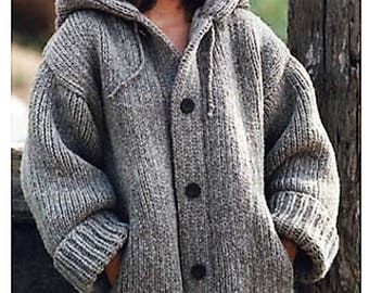 Ladies Chunky Hooded Jacket with Pockets. Easy to Knit, Knitting Pattern, PDF, Digital Daownload
