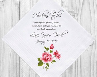 From Bride to Groom Fiance Husband to be Wedding Handkerchief Gift Favor Favour Personalised Personalized Hankie