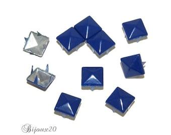 20 Pyramid studs 9mm Blue Navy claw rivet M00320 customisation