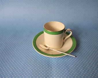 """Demitasse Cup and Saucer Set Green and White """"Queens Green"""" Solian Ware Soho Pottery Cobridge"""
