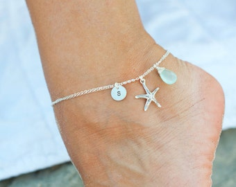 Personalized Starfish anklet, personalized ankle bracelets, silver anklets, bridesmaid gift, beach jewelry, destination wedding, aqua jewelr