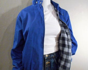80s Blue Bomber Jacket Size Medium Flannel Lined Motorcyle collar