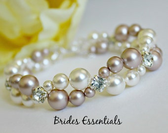 Wedding Bracelet, Bridal Bracelet, Two strand Pearl Bracelet, Multi Strand, Swarovski Pearl Bracelet, Ivory Gold Champagne, Choice of Colors