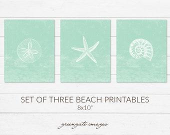 Printable Beach Art - coastal art set, beach house, instant download, beach style wall hanging, sea life print set, home decor, ocean art