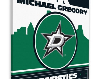 Dallas stars baby etsy dallas stars personalized birth announcement on canvas baby gift nursery art negle Choice Image