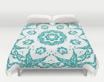 Mandala Duvet Cover - Teal Aqua and White - Modern Medallion Duvet Cover - Abstract Flower - Queen Size Duvet Cover - King Size Duvet Cover