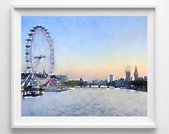 London print, London art, Watercolor, Art print, Illustration, Wall art,Pic no 47