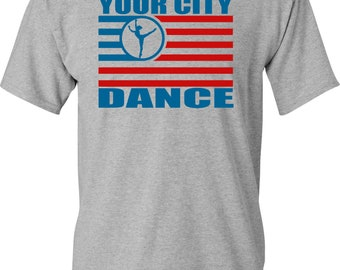 4th of July Dance Flag T-shirt White, Gray, and Black