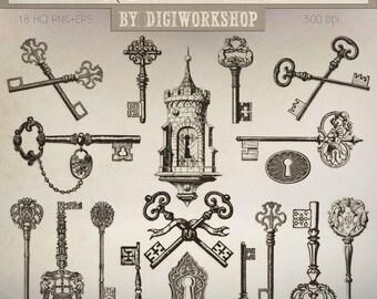 """Antique Keys Clip Art - """"Antique Keys Clipart"""" digital clip art set with vintage or antique keyhole and keys"""