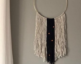 Yarn wall hanging, modern dreamcatcher