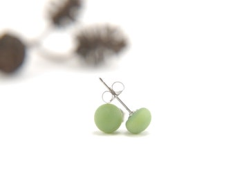 Etched matte olive green fused glass stud earrings with surgical steel earring posts, skin friendly