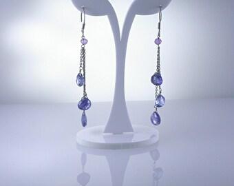 Kyanite Earrings, Kyanite Sterling Silver Earring, Rhodium Plated, Natural Gemstones, Gemstone Drop Earrings