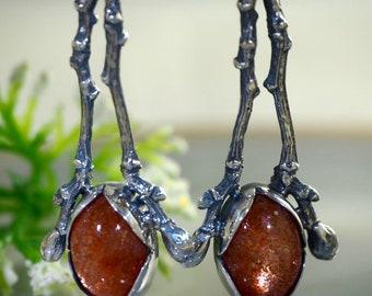 Sunstone Earrings Heliolite Stone Sterling Silver Jewelry