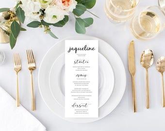 Guest Name Custom Editable Wedding Menu, Wedding Menu Template, Printable Wedding Menu, Instant Download, Digital Print Download