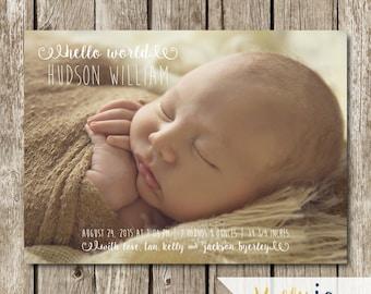 Hello World Birth Announcement - Modern Birth Announcement - Classic Birth Announcement - Photo Birth Announcement Card