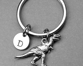 Dinosaur keychain, Tyrannosaurus rex keychain, T rex dinosaur, dinosaur charm, personalized keychain, personalized gift, initial keychain